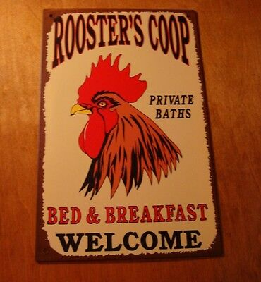 Red Rooster Bed And Breakfast Sign Country Primitive Kitchen Chicken Farm Decor