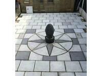 Squared off sun circle patio paving