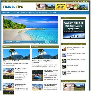 Travel Vacation Guides Business Website For Sale Money Making Online Affiliate