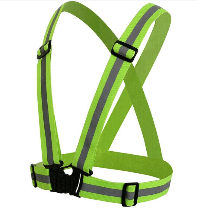 High Visibility Reflective Vest  Gear Adjustable Green Jacket Safety Security