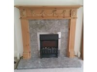 Fireplace Surround Granite With Wooden Mantle + electric fire