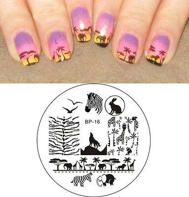 Nail Art Born Pretty Stamping Plate Zebra Wolf Animal Image Template #16](Wolf Nails)