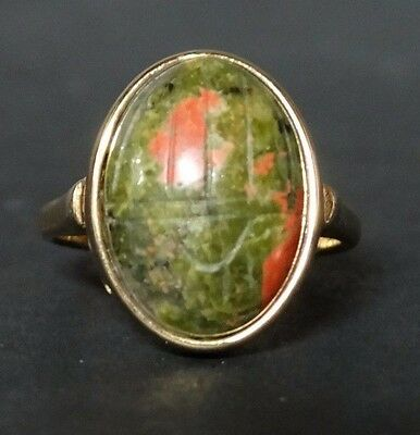 AWESOME Vintage Egyptian revival Unakite Stone Scarab Size 9 Marked 18KGE