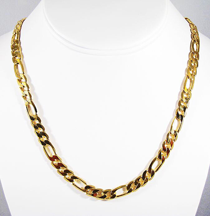 Mens Womens 14k Yellow Gold Finish Figaro Link Chain Necklace+free Shipping