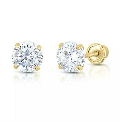 10K Yellow Gold 2mm-8mm Round CZ Birthstone Stud Earrings W/ Safety Screw Back