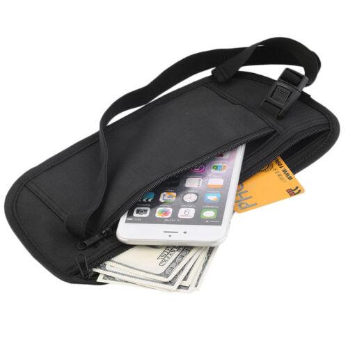 New Travel Waist Pouch For Passport Money Belt Bag Hidden Security Wallet Black