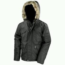 Men's winter Parka coat in black. Size XL. Brand new with tags.