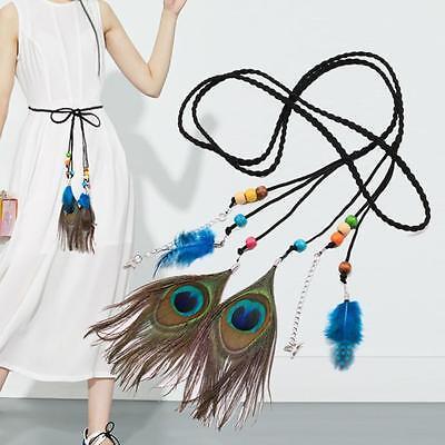 Women Fashion Folk-Custom Peacock Braided Feather Waist Belt Casual Bohemia Belt