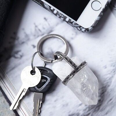 NEW FREE PEOPLE PROTECTION AMULET NATURAL QUARTZ STONE KEY RING CHAIN, used for sale  Shipping to India