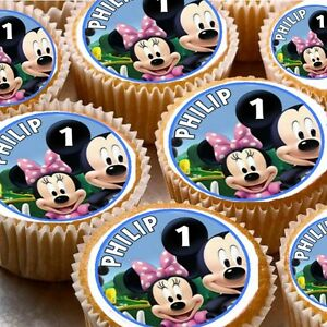 PERSONALISED MICKEY MOUSE OR MINNIE MOUSE CUP CAKE TOPPERS X12 X24 FAIRY CAKES