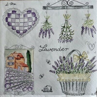 4 x Single Paper Napkins Lavender Garden Village for Decoupage and Crafting 125