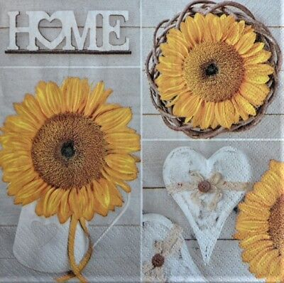 4 x Single Paper Napkins Home Sunflowers Heart for Decoupage Crafting 60