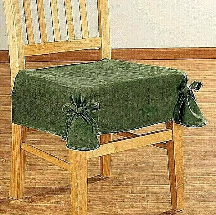 Micro Suede Chair Cover Seat Olive Attractive Fabric 27″L x 21″W Ties Included Furniture