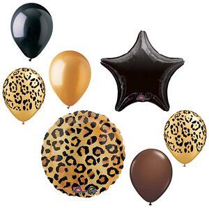 Safari Jungle Cheetah Leopard Print 7 Pc Party Bouquet Decoration Balloons Set