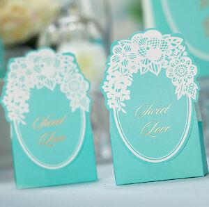 10-Piezas-Boda-Favor-Candy-Caja-azul-Tiffany-Encaje-Flor-Fiestas-De-Cajas-De-Regalo