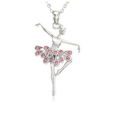 Pink Dancing Ballerina Dancer Ballet Dance Pendant Necklace Charm Jewelry (Ballerina Charm)