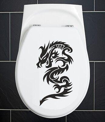 WC Deckel Aufkleber KLO Wandaufkleber BAD Dusche Tür Tattoo Drache Dragon 42