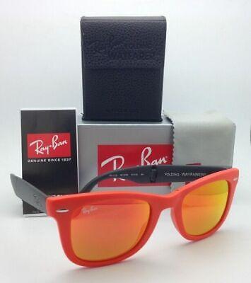 Ray-Ban Sunglasses FOLDING WAYFARER RB 4105 6019/69 Orange w/Brown Mirror (Orange Mirrored Wayfarer Sunglasses)