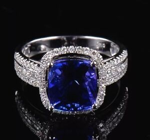 NEW 14k WHITE GOLD 3.95CT NATURAL TANZANITE AND DIAMOND RING