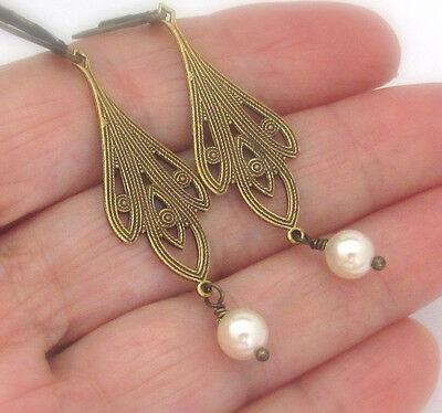 Art Nouveau Earrings White Crystal Pearls Chandelier Dangle Artisan Handmade USA