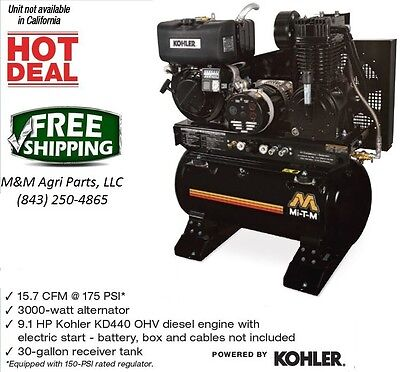 New Diesel Air Compressor & Generator Combo OHV Diesel Engine w/ electric start