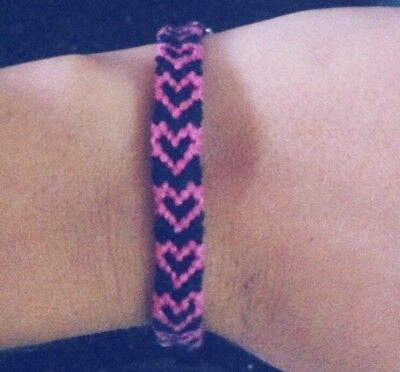 Personalised Friendship Heart Pattern Bracelet, ANY TWO colours of your choice](Friendship Bracelet Pattern)