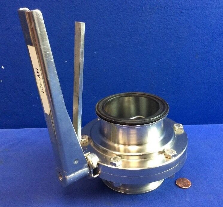 """WAUKESHA 3"""" Stainless Steel Sanitary BUTTERFLY VALVE SQUEEZE LOCK HANDLE"""