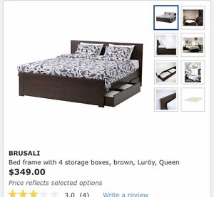 Queen size IKEA bedframe with 4 drawer storage