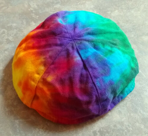 Hand Tie-Dyed Yarmulke - Jewish Prayer Service Skullcap - Rainbow Yamaka