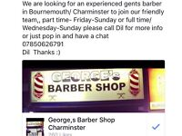 Barber wanted urgently