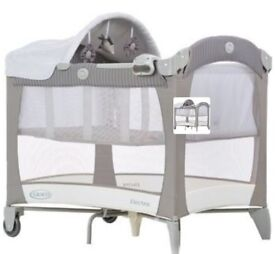 Graco travel cot with changing top