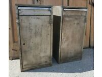 Two industrial metal cabinets with draw