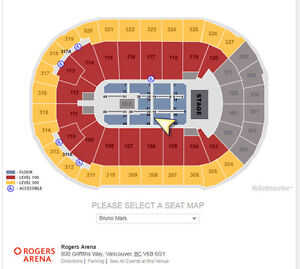 2 Floor Tickets - Row 19, Bruno Mars at Rogers Arena on July 26