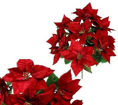 "New 9 Red Large Poinsettias 22"" Christmas Holiday Silk Flower Home Office Decor"