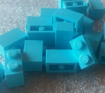 *NEW* Lego Medium Azur Aqua 1x2 Bricks - Lot Of 20 - 6092674