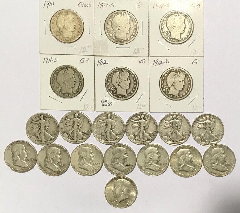 20 90% Silver 50c.    6 Barber, 6 Walking Liberty, 7 Franklin & 1 Kennedy Half