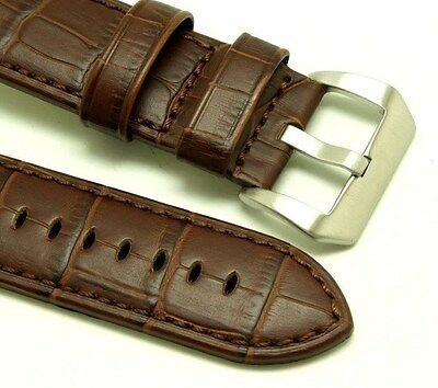 26mm Brown HQ Leather Replacement Croco Watch Strap - Invicta 26 or Big Watch