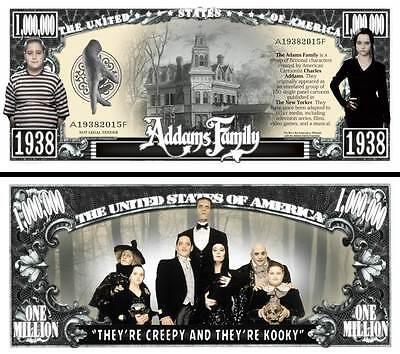 Addams Family Million Dollar Bill Fake Funny Money Novelty Note + FREE - Family Dollar Party Supplies