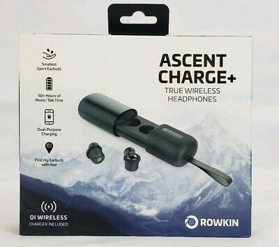 Rowkin Ascent Charge+ True Wireless Bluetooth Earbuds Headphones, Black