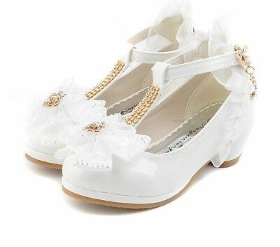 Party Shoes Girls Low Heel Lace Flower Shoes For Girls Single Shoes Dance Dress](Dress Shoes For Teenage Girls)