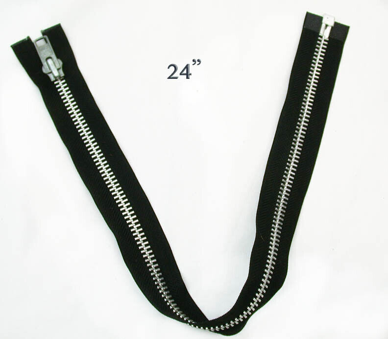 YKK Zipper 24 inch Black & Aluminum Silver USA #10 Heavy Dut