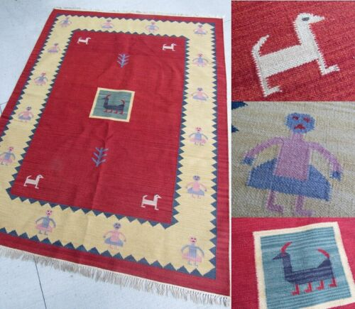 Vintage / Antique Native American Woven Rug Textile Art LARGE 94x67 ESTATE SALE