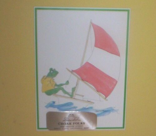 "1979 Ginger Crowell Matted ""CROAK FOLK"" Frog Sailor Print #11-18 ~MADE IN USA"