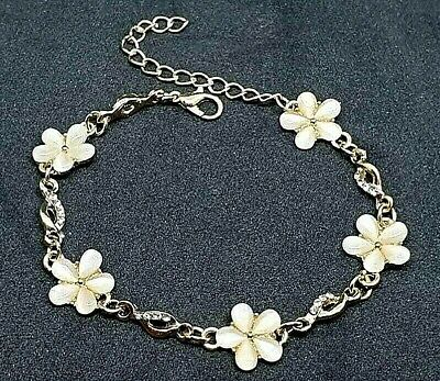 18K Gold Plated Bracelet with Cats Eye Opal Flowers So Pretty With Free Gift Bag Cat Eye Flowers Bracelet