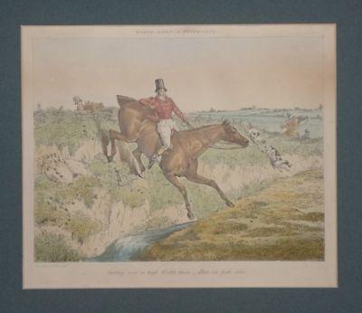 Sprung Flechtzaun Graben - Alken - Radierung - Sport Jagd reiten Pferd - 1840