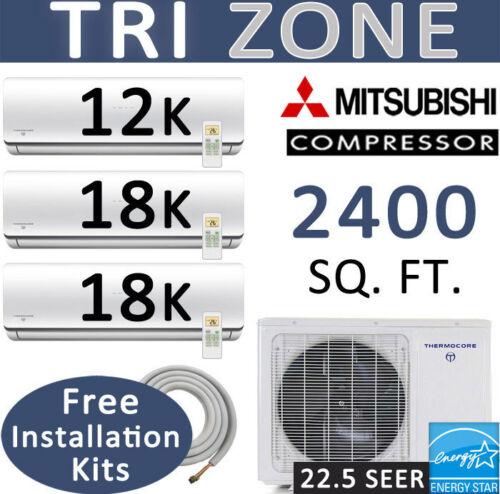 Energy Star 48000 Btu Tri Zone Ductless Mini Split Ac, Heat Pump: 12k-18k-18k