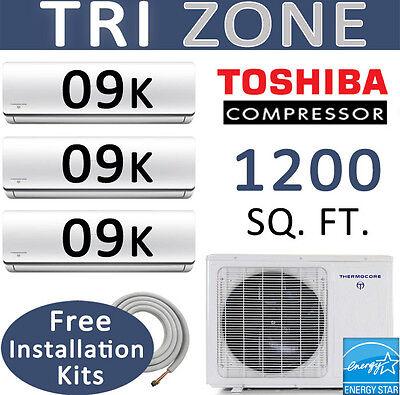 22 SEER Tri Zone Ductless Mini Split Air Conditioner: 9000 BTU x 3 / 25ft Kits ()
