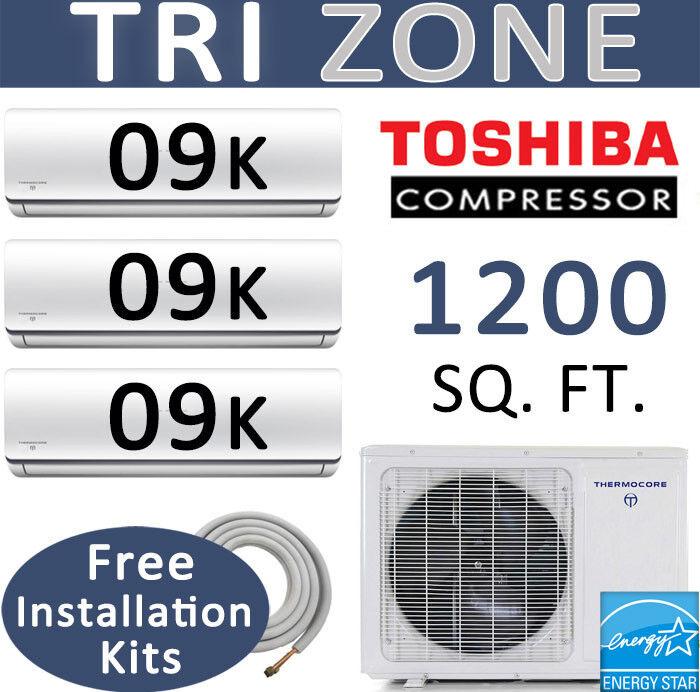 22 Seer Tri Zone Ductless Mini Split Air Conditioner: 9000 Btu X 3 / 25ft Kits