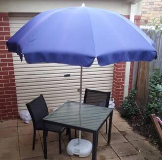 Patio umbrella and Coolaroo umbrella base