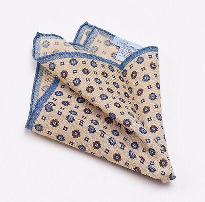New $140 BATTISTI NAPOLI Tan-Blue Floral Medallion Print Wool Pocket Square
